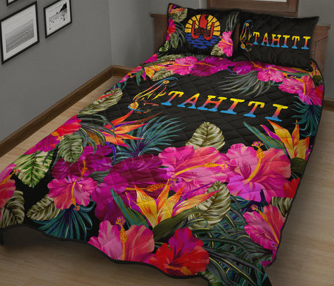Tahiti Quilt Bed Set - Tropical Flower Hinano Hibiscus A24