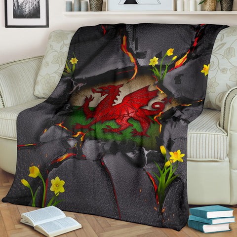Image of Wales Premium Blanket - Welsh Dragon Daffodil Lava | Love The World