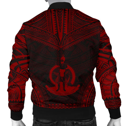 Image of Vanuatu Polynesian Chief Men's Bomber Jacket - Red Version