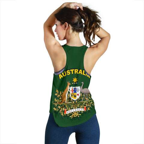 Image of 1stTheWorld Australia Racerback Tank, Australia Swirly Coat Of Arms A10