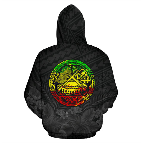Image of American Samoa Eagle with Seal Zip Hoodie Rasta K4