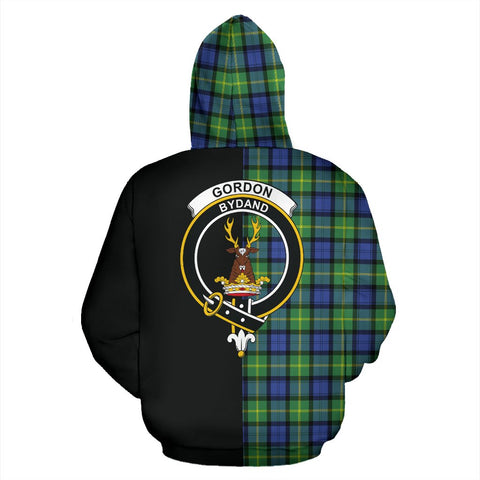Gordon Old Ancient Tartan Hoodie Half Of Me TH8