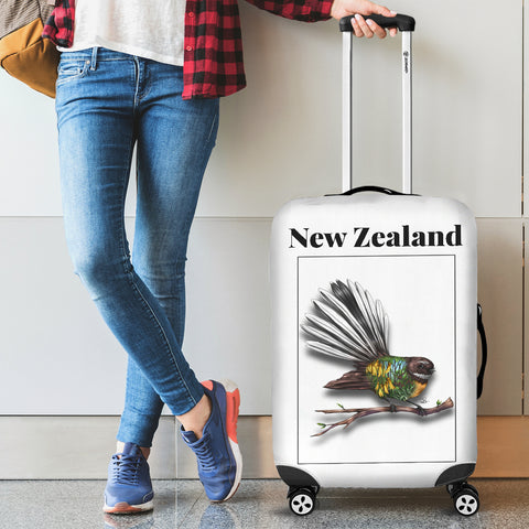 New Zealand Fantail Luggage Cover - new zealand birds, new zealand fantail, luggage cover, suitcase covers, accessories, online shopping