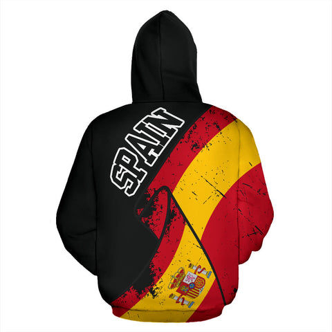Spain Special Grunge Flag Pullover Hoodie | High Quality | Hot Sale