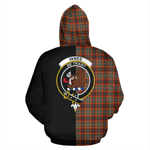 Innes Ancient Tartan Hoodie Half Of Me TH8
