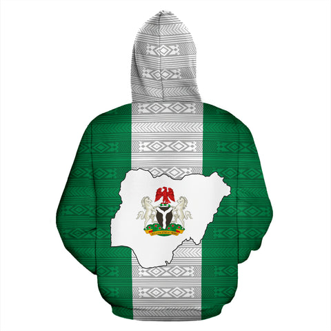 Nigeria All Over Zip-Up Hoodie - Flag And Coat Of Arm - BN12