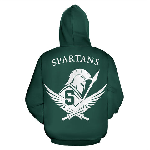 American Zip Up Hoodie - Spartans Warrior - Green - Back - For Men and Women
