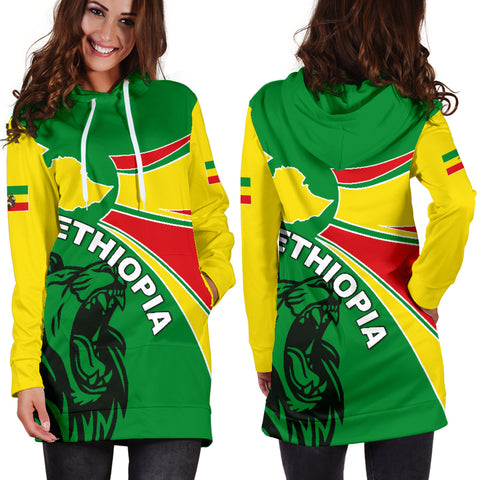 Image of 1stTheWorld Ethiopia Hoodie Dress, Ethiopia Round Coat Of Arms Lion Women A10