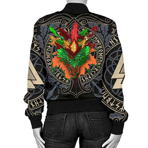 Celtic Lughnasadh Autumn Dragon Women's Bomber Jacket - Celtic Autumn Leaf Pattern - BN21