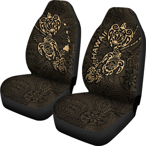 Hawaii Family Turtles Map Polynesian Car Seat Covers - Gold