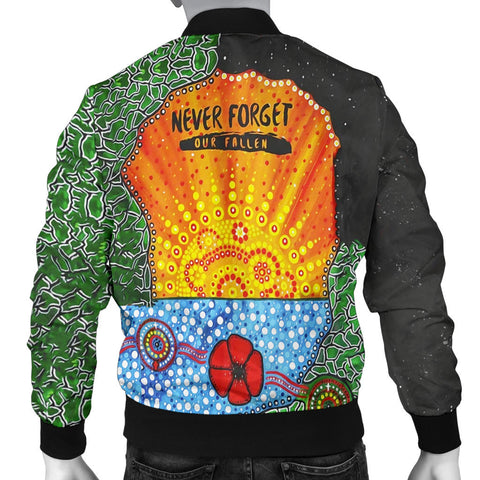 Image of Aboriginal Australian Anzac Day Men Bomber Jacket - Lest We Forget Poppy 2