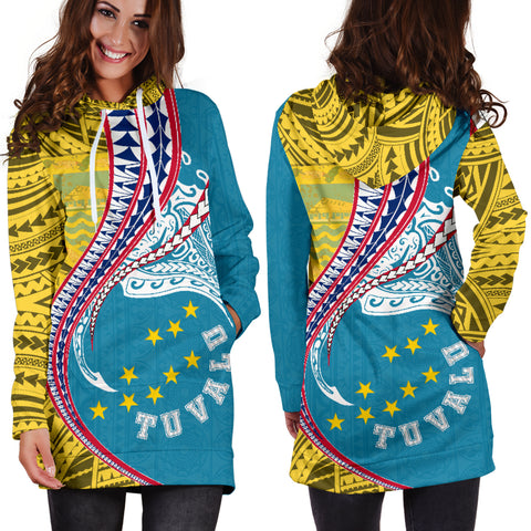 Tuvalu Women's Hoodie Dress Coat Of Arms Polynesian Manta Polynesian