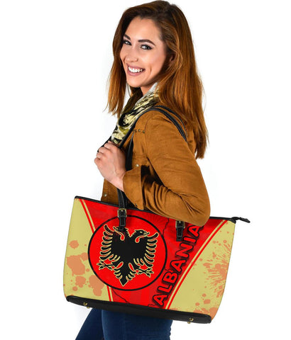 Albania Large Leather Tote Circle Stripes Flag Version 1 | 1sttheworld