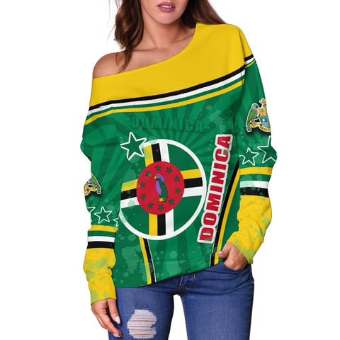 Dominica Off Shoulder Sweater Circle Stripes Flag Version Front | 1sttheworld.com