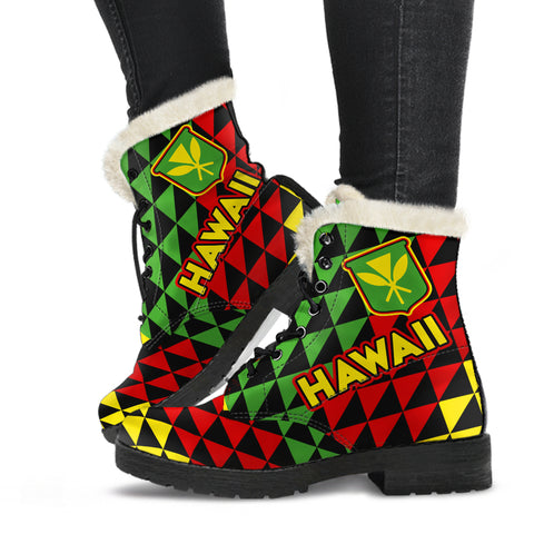 Hawaii Faux Fur Leather Boots Maoli Flag
