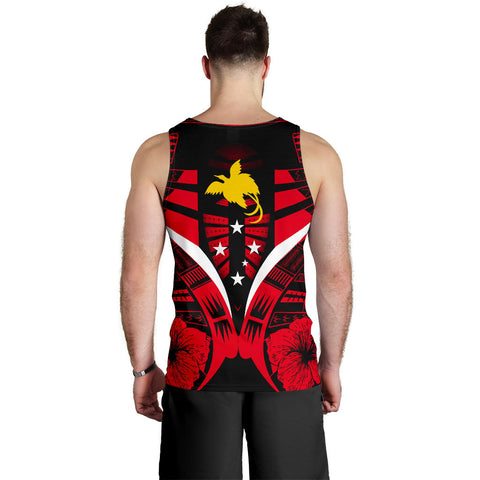 Papua New Guinea Tattoo Men Tank Top Hibiscus - Red Color 2