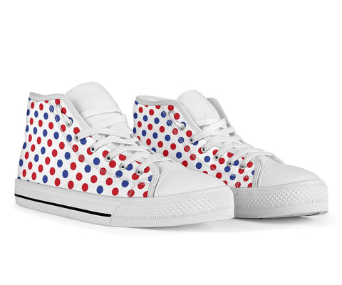 Image of France High Top Shoe - Francais Flag Polka Dots Basic
