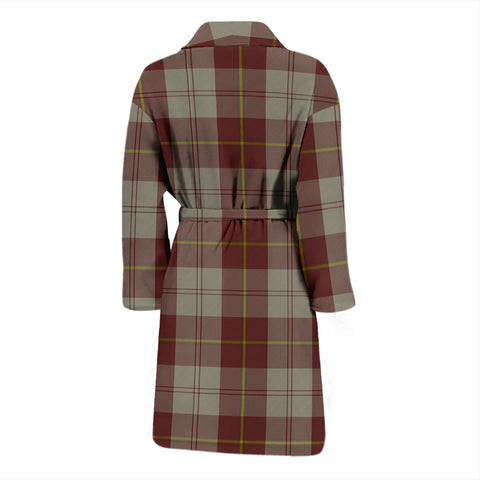 Cunningham Burgundy Dancers Bathrobe - Men Tartan Plaid Bathrobe Universal Fit