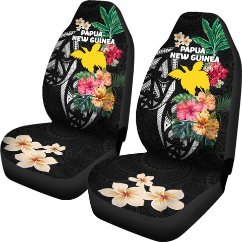 Papua New Guinea Car Seat Covers Coat Of Arms Polynesian With Hibiscus TH5