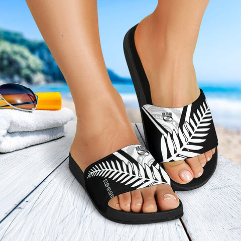 Image of New Zealand Rugby Black Slide Sandals -New Zealand Fern & Maori Patterns