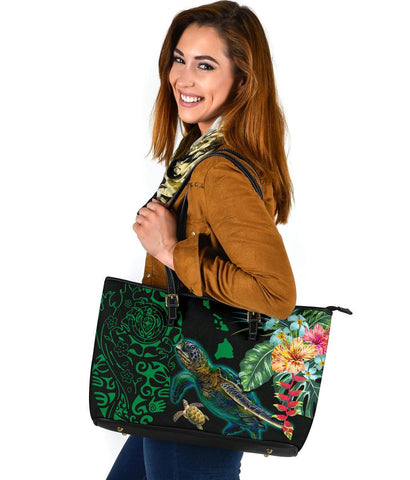 Hawaii Tiki Polynesian Large Leather Tote - Turtle Mix Hibiscus Green K4