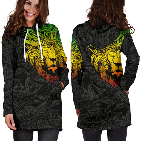 1stTheWorld Ethiopia Hoodie Dress, Ethiopia Lion Pattern Africa Black A10