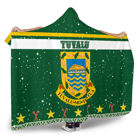 Tuvalu Coat Of Arms Hooded Blanket - Green - Christmas Style