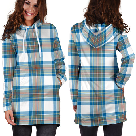 Stewart Muted Blue Tartan Hoodie Dress HJ4 |Women's Clothing| 1sttheworld