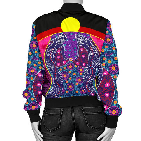 Australia Women's Bomber Jacket - Aboriginal Sublimation Dot Pattern Style (Violet)