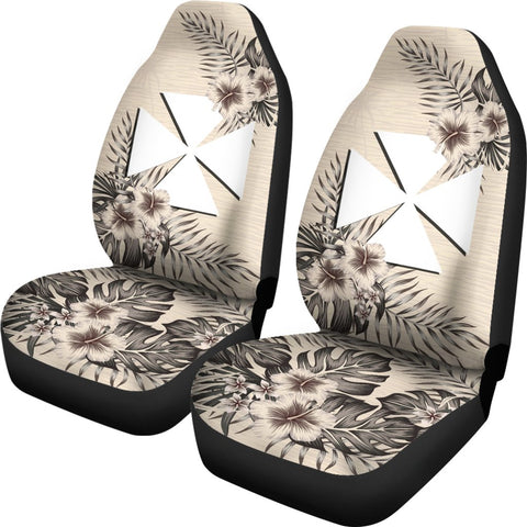 Wallis and Futuna Car Seat Covers - The Beige Hibiscus (Set of Two) | High Quality