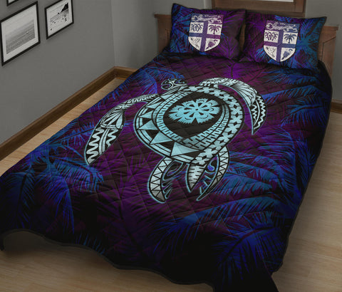 Image of Fiji Quilt Bed Set - Tapa Turtle Tattoo Coconut Tree A24