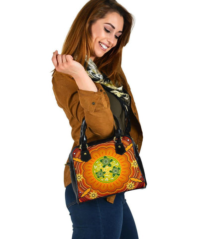 Australia Aboriginal Shoulder Handbag , Turtle Circle Dot Painting Art