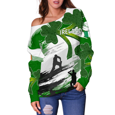 Ireland Cricket Special Off Shoulder Sweater A7