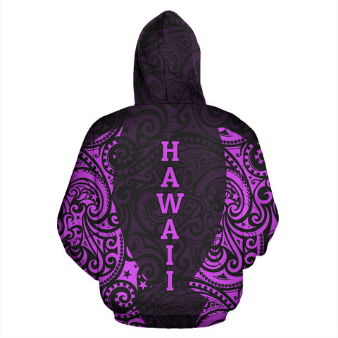 Hawaii Hoodie Polynesian Hibiscus Purple TH2