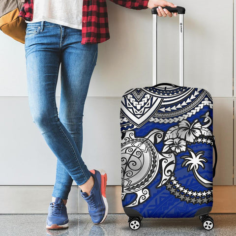 Chuuk Polynesian Luggage Covers  - White Turtle (Blue)
