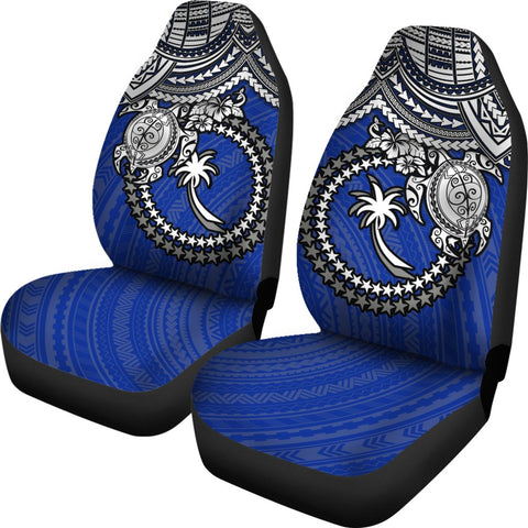 Chuuk Polynesian Car Seat Covers - White Turtle (Blue) - BN1518