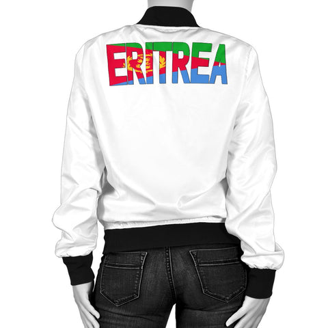 Eritrea United Flag - White Women's Bomber Jacket A15