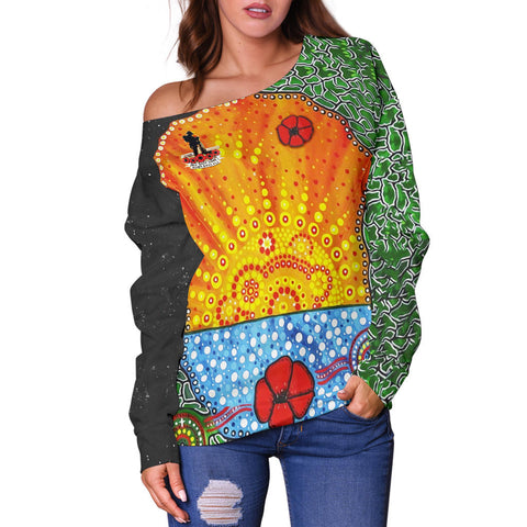 Image of Aboriginal Australian Anzac Day Off Shoulder Sweater - Lest We Forget Poppy 2