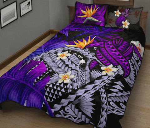 Kanaka Maoli (Hawaiian) Quilt Bed Set, Polynesian Pineapple Banana Leaves Turtle Tattoo Purple A02