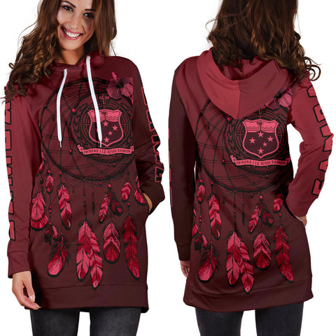 Samoa Dreamcatcher Hoodie Dress (Red Ver.) A02 |Women's Clothing| 1sttheworld