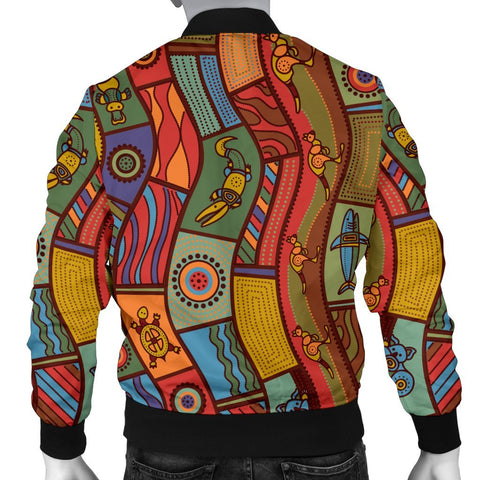 Australia Men's Bomber Jacket - Aboriginal Art With Animals - BN17