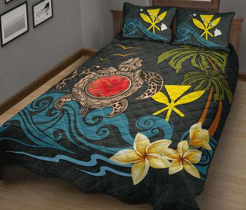 Hawaii Quilt Bed Set - Coat Of Arm Turtle Hibiscus A24