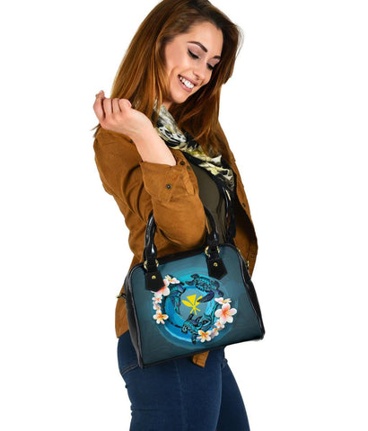 Kanaka Maoli (Hawaiian) Shoulder Handbag - Blue Plumeria Animal Tattoo A24