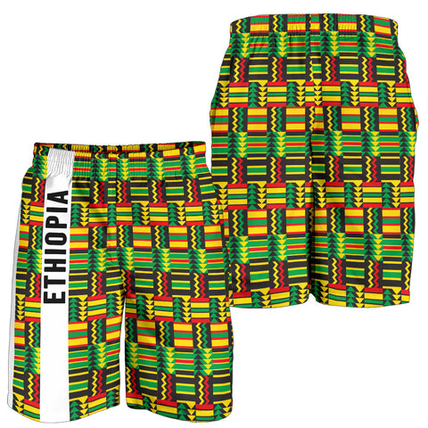 1stTheWorld Ethiopia Shorts, Ethiopia Stripe African Pattern Men A10