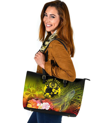 Tonga Custom Personalised Large Leather Tote Bag - Humpback Whale with Tropical Flowers (Yellow)