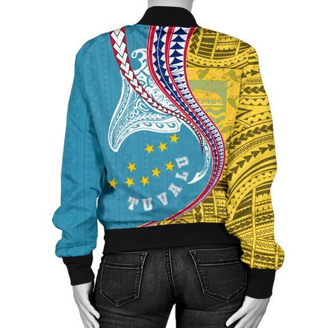 Tuvalu Women's Bomber Jacket Manta Polynesian TH65