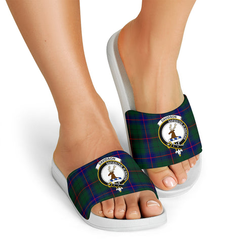 Tartan Slide Sandals - Davidson Clans - White Version