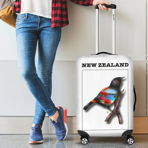 New Zealand Huia Luggage Cover - new zealand birds, new zealand huia, luggage cover, suitcase covers, accessories, online shopping
