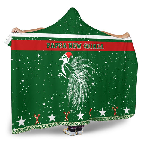 Papua New Guinea Paradise Bird Hooded Blanket - Green - Christmas Style - J092