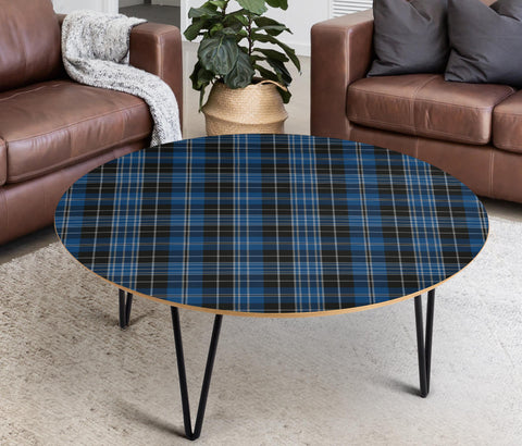 Clergy Blue Tartan Circular Coffee Table - BN